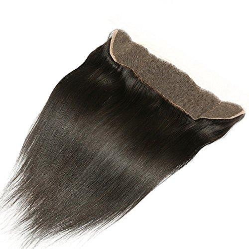 Véritable péruvien Cheveux humains 33 x 10,2 cm Dentelle frontale Fermeture Cheveux raides Noir naturel 1B Extensions de cheveux gratuit d'expédition Moyen/gratuit/trois partie Dentelle Fermeture frontal