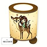 ilka parey wandtattoo-welt® Lampe Tischlampe Nachttischlampe Kinderlampe Schlummerlampe Fee Elfe mit Reh Rehkitz Bambi und Punkte tl072