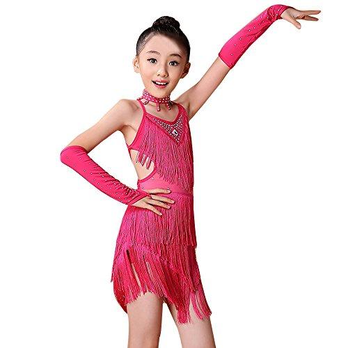 Kostüm Super Mario Katze - Sllowwa Mädchen Latin Kleid Troddel Tanzkleid mit Leggings Halskette Ärmel Set Kinder Tanzkostüm Performance Kleidung für Lateinisches Salsa Tango(Pink,140)