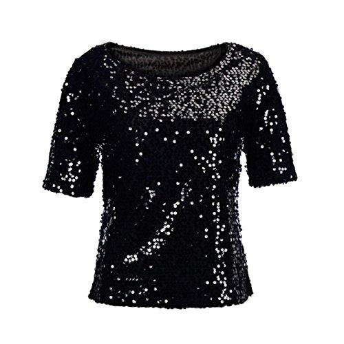 LHWY Donne Collo Alto Senza Maniche Maglione Gilet Camicetta Crop Top Partito Clubwear (XL, Nero)