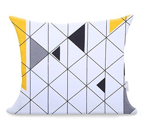 2 Kissenbezüge 50x60 cm weiß zweiseitig geometrisches Muster modern Baumwolle Mako-Satin Baumwollsatin Reißverschluss Ducato Collection Geometric gelb grau