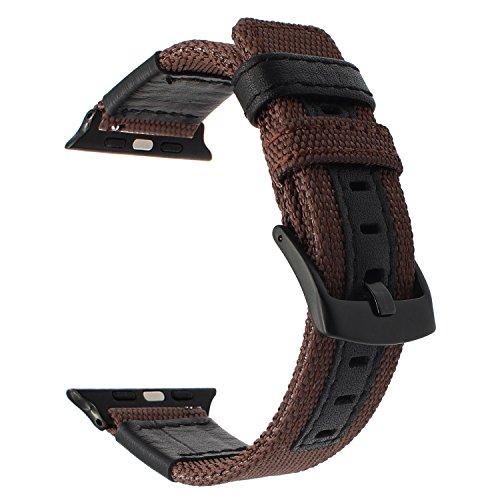 TRUMiRR Armband kompatibel mit 42mm 44mm Apple Watch, Woven Nylon Armband Lederband Sport Uhrenarmband Ersatzband mit Edelstahl Schnalle für iWatch Aple Watch Serie 4 3 2 1 Alle Modelle - Frauen Plus Watch Nike