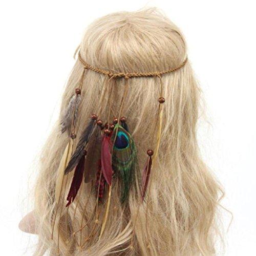 Koly indian Style Piuma Tessuto a mano Piuma di pavone Fascia per capelli (Beige) - 6 Spazzola Di Arte