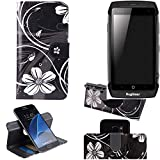 K-S-Trade Schutzhülle für Ruggear RG730 Hülle 360° Wallet Case Schutz Hülle ''Flowers'' Smartphone Flip Cover Flipstyle Tasche Handyhülle schwarz-weiß 1x