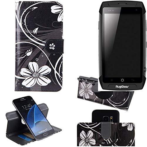 K-S-Trade Schutzhülle Ruggear RG730 Hülle 360° Wallet Case Schutz Hülle ''Flowers'' Smartphone Flip Cover Flipstyle Tasche Handyhülle schwarz-weiß 1x