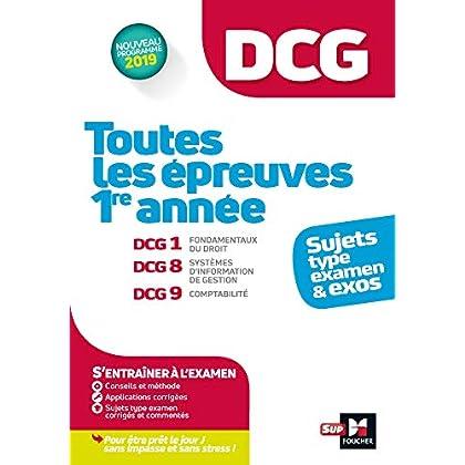 DCG : Toutes les épreuves de 1ère année du DCG 1, 8, 9 - sujets et exos