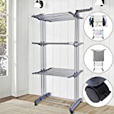 Voilamart Foldable 3 Layer Tier /6 Tray Clothes Drying Rack Garment Indoor Outdoor Laundry Dryer Hanger Airer with Wheels