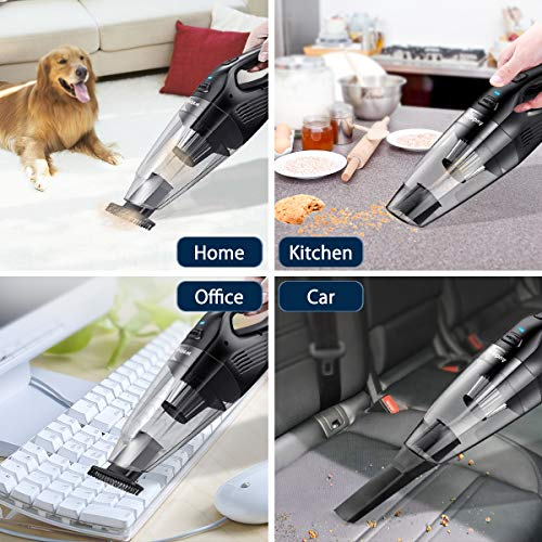 Audew Cordless Handheld Vacuum Cleaner Car Hoover, 7KPa Portable Rechargeable Powerful Cyclonic Suction Vacuum Cleaner, 14.8V Lithium with Quick Charge Tech,For Home/Car Vacuum Portable Vacuum Black