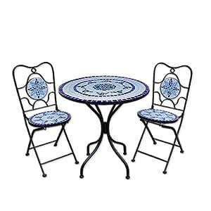 mosaiksitzgarnitur neptun 2x stuhl 1 tisch sitzgruppe mosaiktisch mosaikstuhl. Black Bedroom Furniture Sets. Home Design Ideas