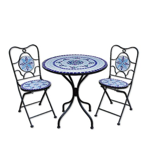 Deuba Mosaic Patio Table and Chairs Set Neptun - Garden Terrace Furniture Set - 1 Table & 2 foldable Chairs