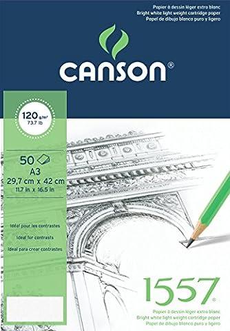 Canson 1557 204127409 Papier à dessin Grain Léger Blanc Pur