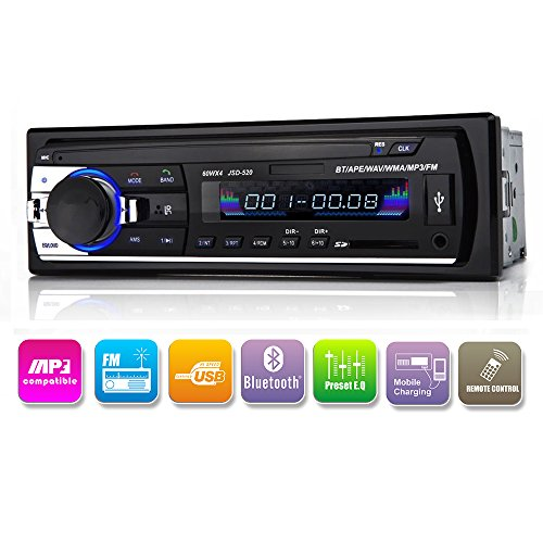 Autoradio Bluetooth In-Armatur Single Din Auto Stereoanlage, Auto-MP3-Player USB/SD/AUX/Wireless inklusive Fernbedienung von Kidcia