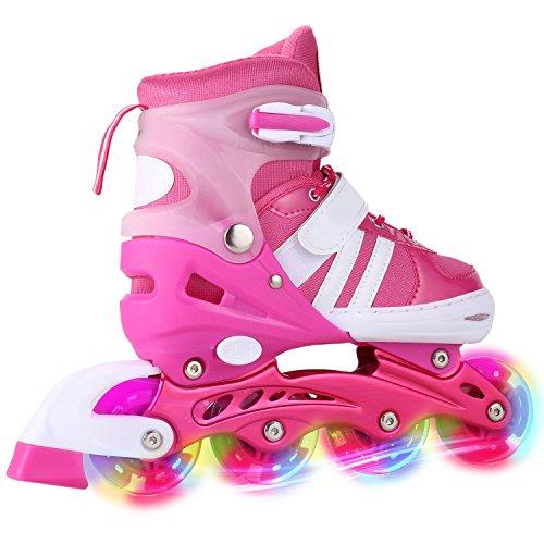 WeSkate Für Kinder / Jungen / Mädchen Canvas Design Einstellbare Rollschuhe Kinder Mit Leucht PU Räder Dreifach Schutz Leichte Inline Skates (Rosa, 39-42) Mädchen Einstellbare Rollschuhe