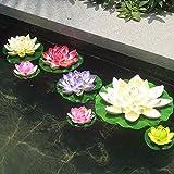 7 Unids Flores de loto artificiales flotantes multicolor diseño en estanques, peceras, acuarios.f fuentes cristal para el salon con velas flotantes de OPEN BUY