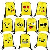 MaoXinTek Bolsas de Cuerdas Emoji Dibujos Animados Mochila Bolsas PE para cumpleaños niños y Adultos la Fiesta Favorece Rellenos Bolsa 10 Piezas