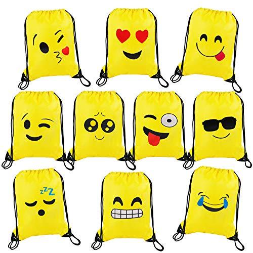 Emoji Rucksack Mitgebsel Kindergeburtstag Smiley Turnbeutel Gastgeschenke Beutel Geschenktaschen für Jungen Mädchen Kinder 10 Stück