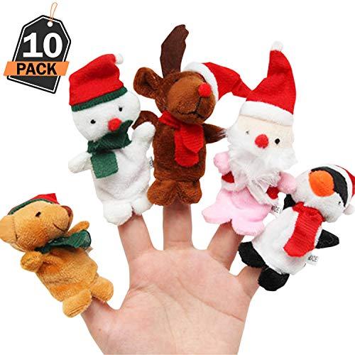 Kompanion 10 Piece Christmas Mini Plush Figures Set, Stocking Filler, Party and Party Favours