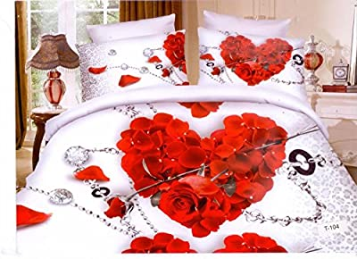 3D Effect Complete Bedding Set (T104)With Duvet Cover,Fitted Sheet & Pillow Cases