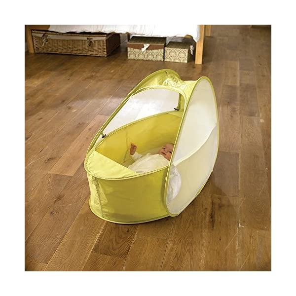 Koo-di 80 x 50 x 58 cm Pop Up Travel Bassinette (Lime/ Lemon)  A comfortable bassinette ideal for use at home and on holidays or weekends away A polycotton travel bassinette Ideal up to 6 months or until baby can sit unaided 3
