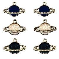 30pcs Mixed Color Enamel Satellite Planet Charms for DIY Necklaces Bracelets Jewelry Accessories