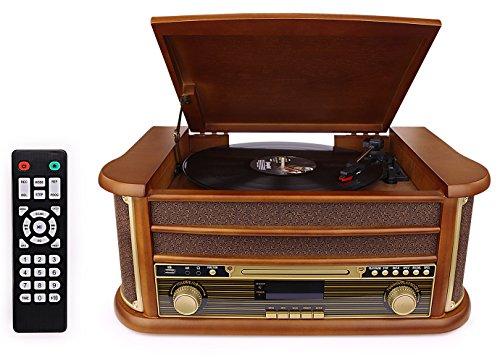 D & L 7-in-1 DAB Plattenspieler Vintage Holz mit Bluetooth, UKW-Radio, integrierte Stereo-Lautsprecher, CD / MP3 / Cassette spielen, USB Play & - Mp3 Radio Cd Plattenspieler