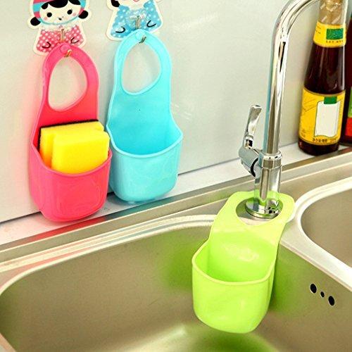 Dasuke Kitchen Sink Sponge Holder Bathroom Hanging Strainer Organizer Storage Box Rack blue (Organizer Box Storage)