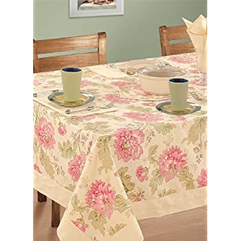 Swayam Libra Printed Cotton Six Seater Table Sheet - Cream (RDS16-60x90-3612)