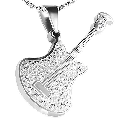 Bungsa® Akustik Gitarre Kettenanhänger Edelstahl Silber (Guitar Rock Pop Anhänger Pendant Amulett Medaillon Charm Beads Chirurgenstahl Damen Herren Schmuck)