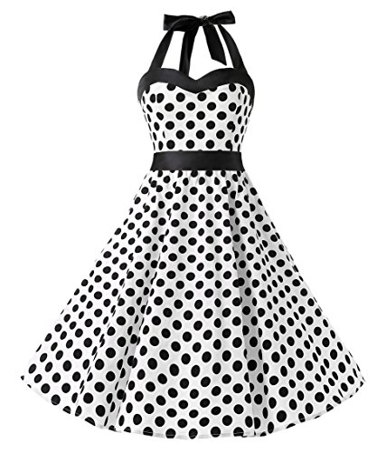 Dresstells Halter 50s Rockabilly polka dots dots dress petticoat pleated skirt White Black Dot M