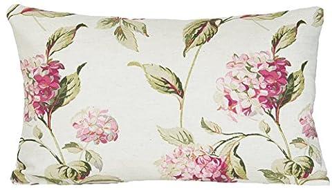 Hydrangea Decorative Pillow Case Rectangular Cushion Cover Laura Ashley Fabric Pink Green Floral
