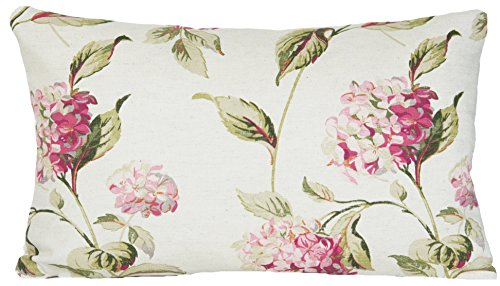 Laura Ashley Funda De Almohada De Hortensias Decorativa Rectangular Funda Para Cojín Verde Diseño De Flores Rosa