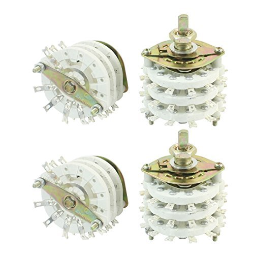4Pcs 3 Pole 6 Position Three Deck Band Channael Rotary Switch Selector -
