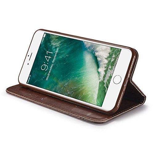 Wkae Doppelseitiges Absorptionsspleißen Horizontales Flip Ledertasche mit Halter & Kartensteckplätzen & Lanyard Für iPhone 7 Plus 8 Plus ( Color : Red ) Brown