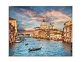 deinebilder24 Kunstdrucke gerahmt - 80 x 120 cm - Canal Grande im Goldenen Abendlicht Bei Sonnenuntergang in Venedig, Italien