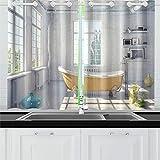 JOCHUAN Bathtub Loft Interior Kitchen Curtains Window Curtain Tiers for Café, Bath, Laundry, Living Room Bedroom 26 X 39 inch 2 Pieces