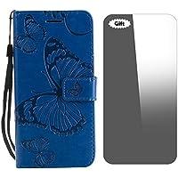 Conber Funda iPhone, Funda de Cuero con [Protector de Pantalla Gratis], Shock Absorción y Función de Kickstand Relieve Flor del Sol