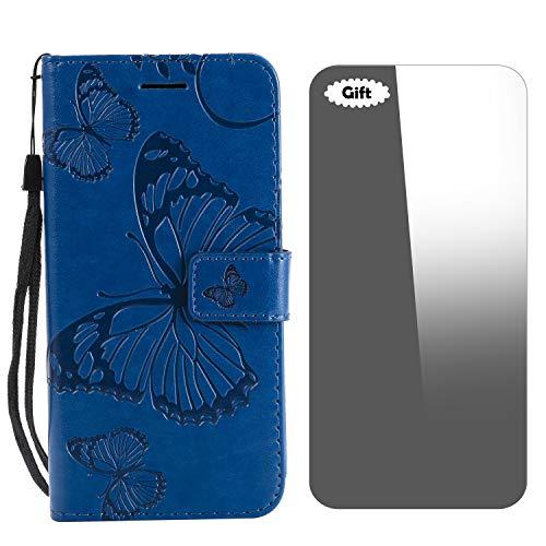 Conber Funda Moto G5, Funda de Cuero con [Protector de Pantalla Gratis], Shock Absorción y Función de Kickstand Serie 3D Mariposa para Motorola Moto G5 - Azul
