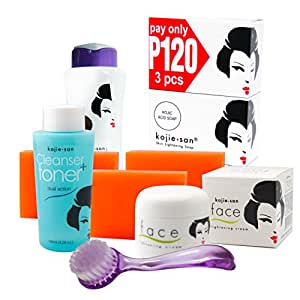 Kojie San Face & Body Complete Whitening 7pc Set Kojic Acid Soap, Body Lightening Lotion With Spf25, Face Lightening Cream, Toner, And Cleansing Brush