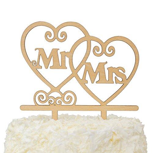 lovenjoy mit Geschenk-Box Herr und Frau Monogramm Hochzeit Verlobungsring Tortenaufsatz Rustikal Holz (14cm) (Größe 14 Verlobungsringe Für Männer)