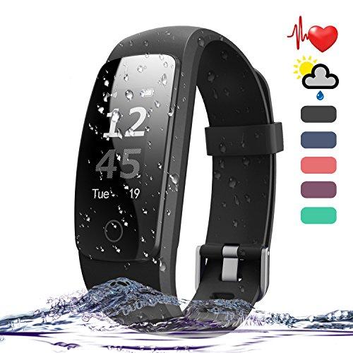 Amytech Pulsera de Actividad ID107plus HR Pulsómetro Control de Sueño y Ritmo Cardiaco Podómetro Fitness Activity Tracker (Negro)