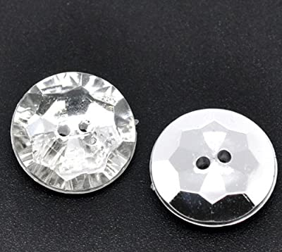 Pack of 10 18mm Clear Faceted Acrylic, Crystal Look, Silver Plated Back, 2 Holes Round Buttons, for Sewing, Scrapbooking, Embelishments, Crafts, Jewellery making, shabby chic, Knitting : everything five pounds (or less!)