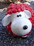 Tourwell Vertrieb Supersüße Dekofiguren Gartenfiguren bunte Schafe in knalligen oder pastell farben aus hochwertigem wetterfestem Resin - handgefertigte und handbemalte Markenqualität (Rot)