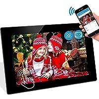WiFi Digitaler Bilderrahmen WLAN Elektronischer Fotorahmen mit 10.1 Zoll 1280P IPS Full HD Touchscreen 16GB Speicher, Foto Video über App/E-Mail aus Handy, Facebook, Twitter sofort teilen