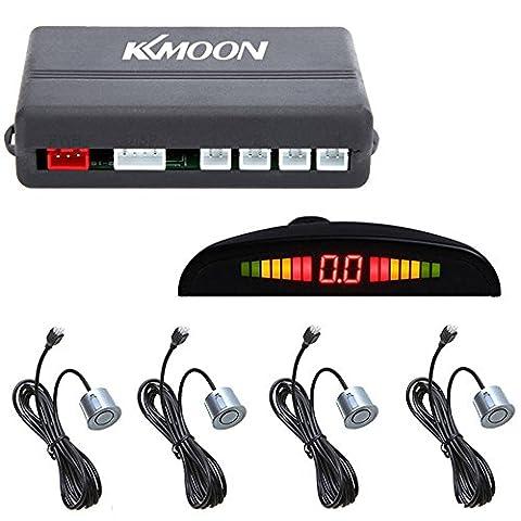 KKmoon Car LED Parking Reverse Backup Radar System with Backlight Display 4 Sensors (White/Blue/Grey/Red/Silver/Black Optional) (Grey)