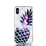 Coque iPhone XS Silicone,iPhone X Coque Transparente avec Motif Ananas Flexible TPU...