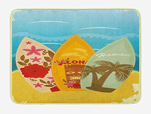 Bamboo Beach Tiki Bar (Tiki Bar Bath Mat, Hawaiian Beach Surfboards on The Sand Exotic Summer Vacation Sport Vintage Style, Plush Bathroom Decor Mat with Non Slip Backing, 23.6 W X 15.7 W Inches, Multicolor)