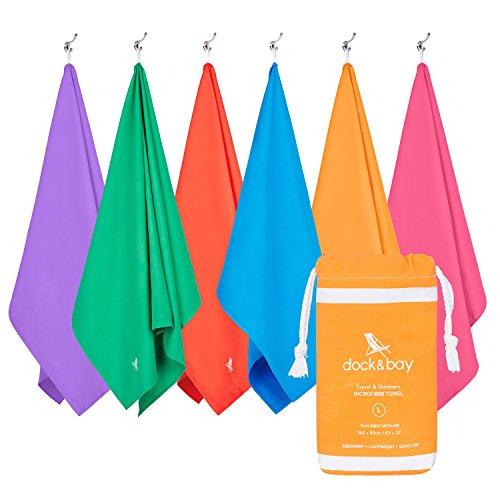 Dock & Bay Microfibra viaggio, palestra, yoga asciugamano Classico - Arancione - Grande (160 x 80cm)