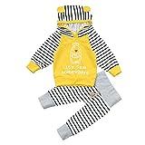 New Toddler bebe niñas niños Carta alimentador Ropa Set con capucha Tops + pantalones trajes zycShang (70, Amarillo)