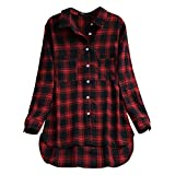 Honestyi Mode Frauen Langarm Shirt Plaid Tasche beiläufige lose Bluse Button Tops(Rot,XL)