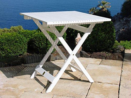GRASEKAMP Qualität seit 1972 Balkontisch Weiss 70x70 cm Klapptisch Beistelltisch Gartentisch
